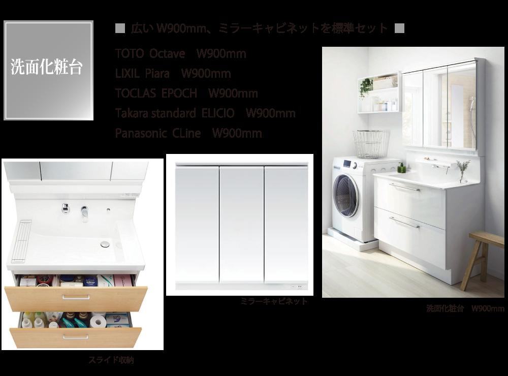 洗面化粧台は広い幅900mmでミラーキャビネット付き。