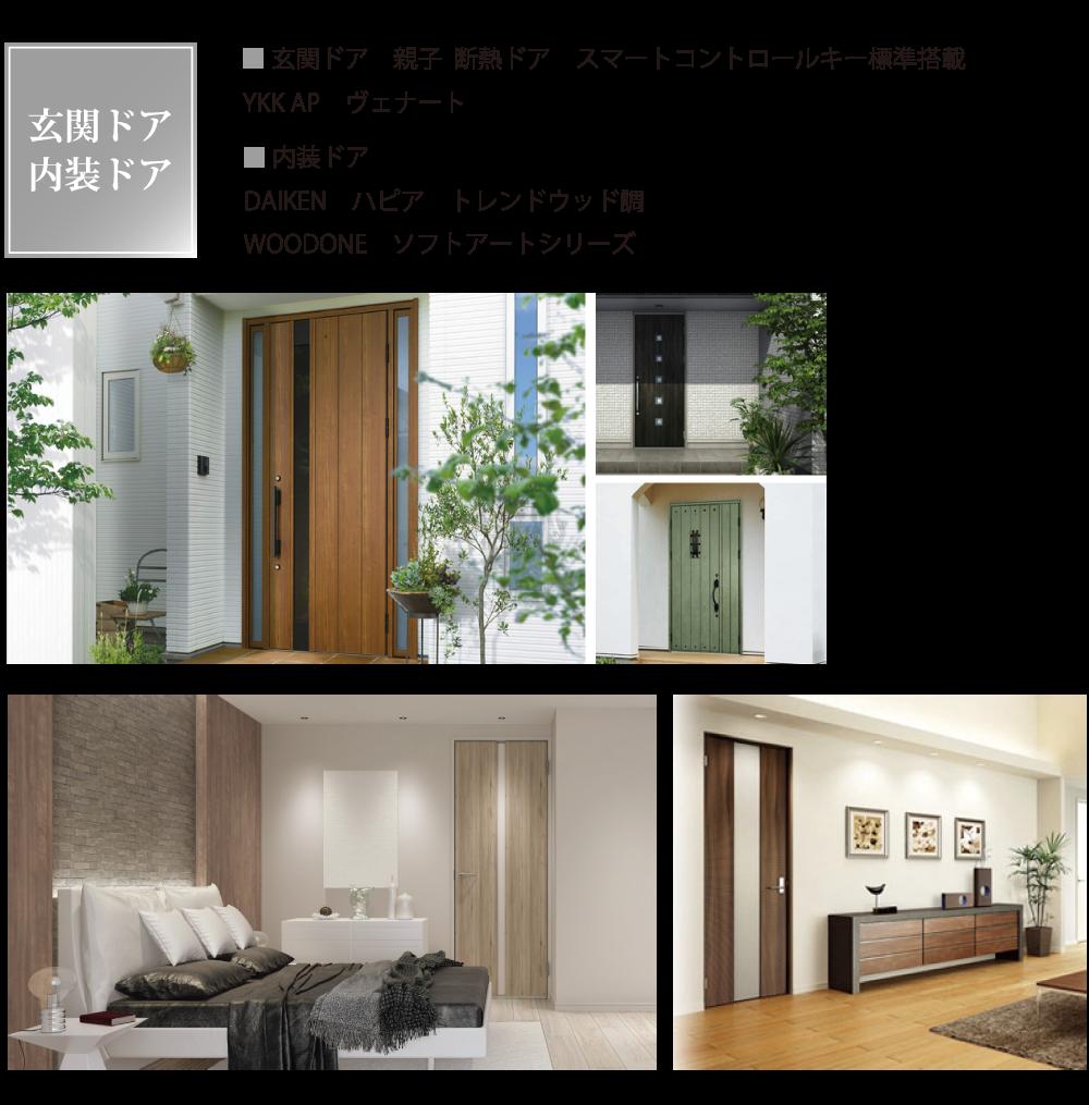 玄関ドアは断熱ドアでスマートコントロールキー標準搭載のYKK APヴェナート。内装ドアはDAIKENハピア トレンドウッド調またはWOODONE ソフトアートシリーズ。