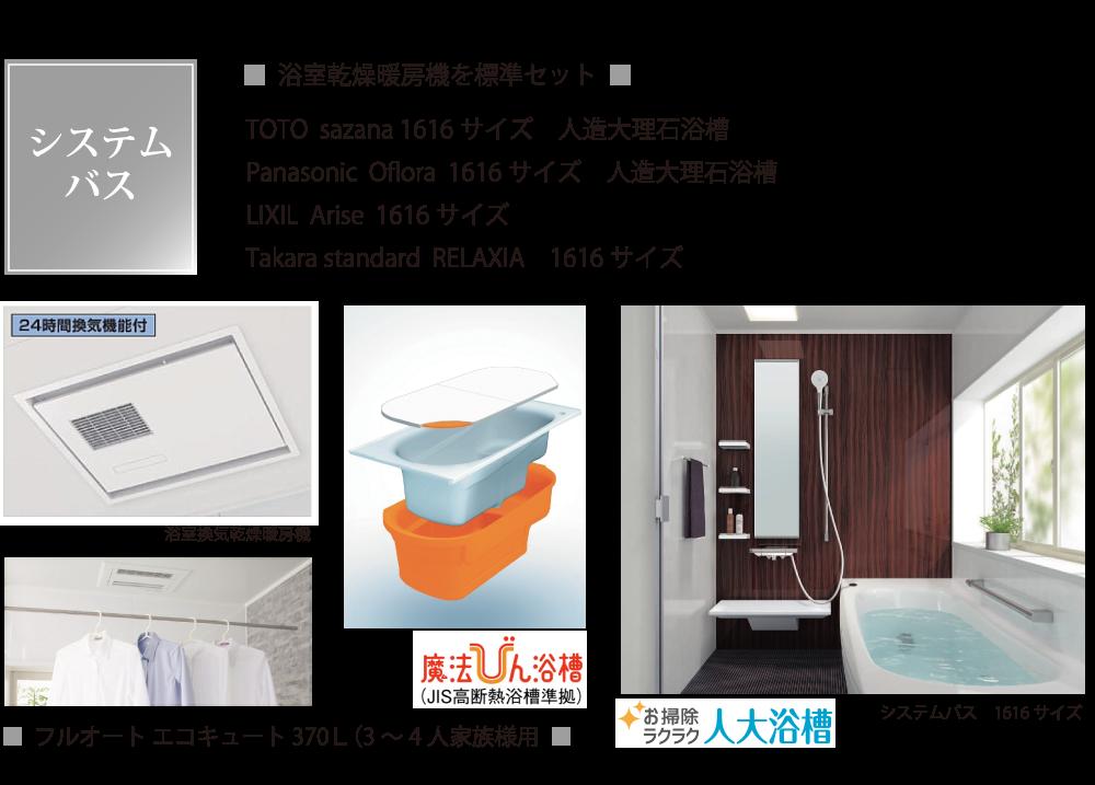 システムバスは浴室乾燥暖房機を標準セット。24時間換気機能付き