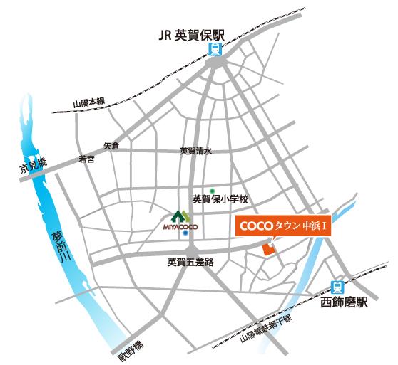 COCOTOWN中浜の地図