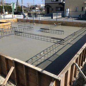 中浜L号地 戸建新築工事 基礎コンクリート打設。