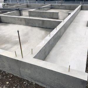 中浜L号地 戸建新築工事 基礎立ち上がりコンクリート打設。