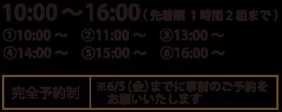 10:00〜16:00(先着順1時間2組まで)
